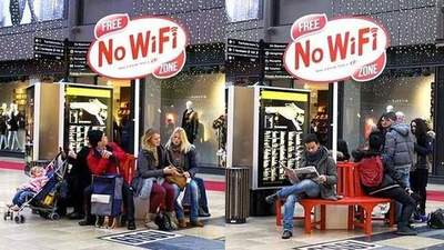In Amsterdam, there were free areas without Wi-Fi