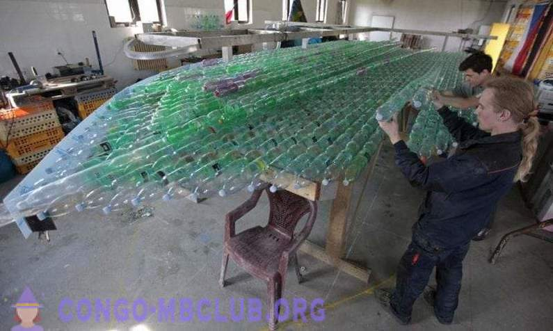 The boys built a boat out of plastic bottles and went on a journey