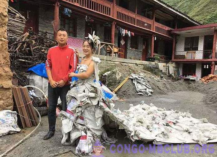 Girl from China sewed a dress of 40 bags