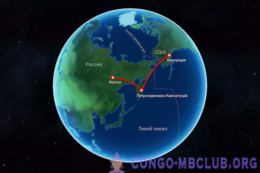 Date Line. Flight from Kamchatka to Alaska across the Pacific Ocean